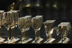The rows of glasses Royalty Free Stock Images