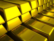Rows of gold bars illustration Stock Photo