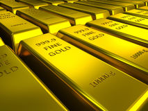 Rows of gold bars Royalty Free Stock Photos
