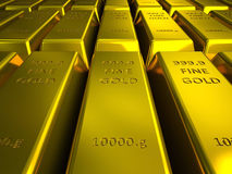Rows of gold bars illustration Stock Image