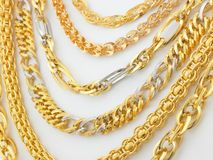 Rows of gold  chains Royalty Free Stock Images