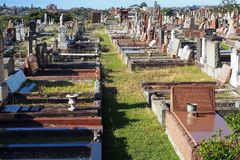 Rows of Gravestones in Disused Cemetery. Rows of graves and gravestones in a full and disused cemetery, Vaucluse, NSW, Australia Stock Photo