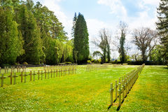 Rows of graveyard crosses in Dinant Royalty Free Stock Photography