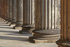 Rows of Greek columns to infinity Royalty Free Stock Images