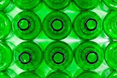 Rows of green beer bottles Stock Photography