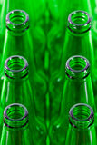 Rows of green beer bottles Stock Images