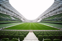 Rows of green seats in an empty stadium Royalty Free Stock Photos