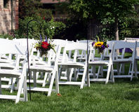Rows of Guest Chairs for Outdoor Wedding Stock Photo