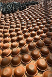 Rows of handmade potteries in Bhaktapur, Nepal Royalty Free Stock Image