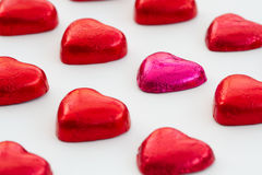 Rows Of Heart Shaped Valentine's Chocolates. stock photography