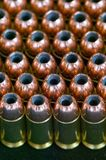 Rows of hollow point bullets - Ammunition. Rows of 308 caliber hollowpoint bullets Royalty Free Stock Images
