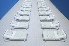 Rows of hospital beds from above. 3d rendering Stock Photos