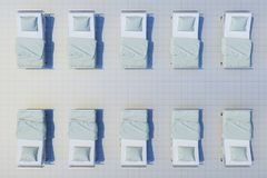 Rows of hospital beds. Top view. 3d rendering Royalty Free Stock Photo