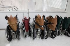 Rows of hospital wheelchair prepare for patient or disabled park Royalty Free Stock Image