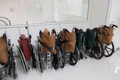 Rows of hospital wheelchair prepare for patient or disabled park Royalty Free Stock Photos