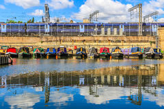 Rows of houseboats Stock Images