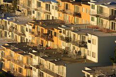 Rows of houses on hill. Houses built on a steep hill in San Francisco Royalty Free Stock Photo
