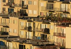 Rows of houses on hill. Houses built on a steep hill in San Francisco Royalty Free Stock Photos