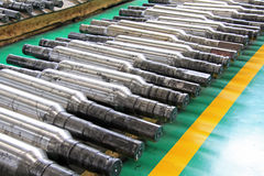 Rows of industrial roll in a factory Stock Images