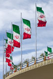 Rows of Iran Flags On a Street Bridge in Tehran Royalty Free Stock Photo