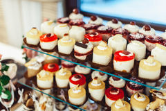 Rows of italian mignon cakes on a glass stand. Rows of coloured italian mignon cakes on a glass stand royalty free stock photography