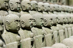 Rows of jizo statues Royalty Free Stock Images