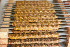 Rows of juicy beef kebab Royalty Free Stock Photo