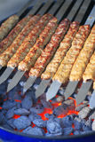 Rows of juicy beef kebab Stock Image