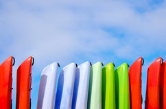Rows of kayaks on storage racks Royalty Free Stock Images