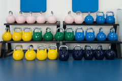 Rows Of Kettle Bell In The Gym Stock Photos