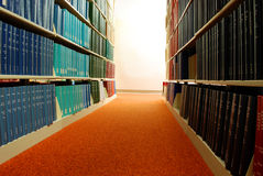 Rows of Library Books. On shelves Stock Photos