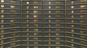 Rows of luxurious safe deposit boxes Royalty Free Stock Images