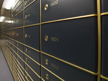 Rows of luxurious safe deposit boxes Royalty Free Stock Photography