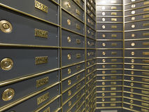 Rows of luxurious safe deposit boxes Stock Image