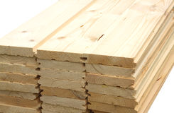 Rows of many planed planks isolated Royalty Free Stock Images
