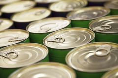 Rows of metal cans Stock Image