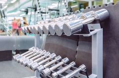 Rows of metal dumbbells in a fitness center Royalty Free Stock Photo