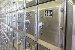 Rows of metal post office boxes Royalty Free Stock Images