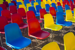 Rows of modern colored chairs Royalty Free Stock Photography