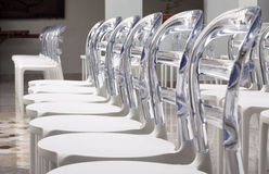 Rows Modern plastic designed chairs Stock Photo