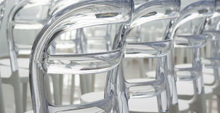 Rows Modern plastic designed chairs Royalty Free Stock Images