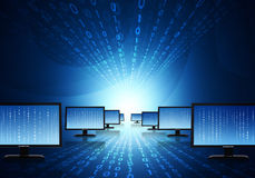 Rows monitors with glowing figures. Hi-tech technological background Royalty Free Stock Photography