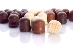 Rows of Mousse Chocolate Candies. Rows of Mousse assorted Chocolate Candies royalty free stock photos