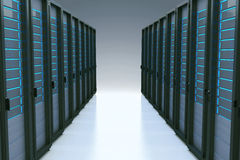 Rows of network servers in data center with reflection effect. 3d Royalty Free Stock Photography