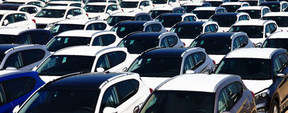 Rows of new cars Royalty Free Stock Images