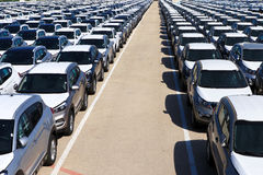 Rows of new cars Royalty Free Stock Photos