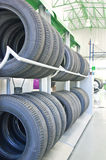 Rows Of New Tires On Rack. Royalty Free Stock Image