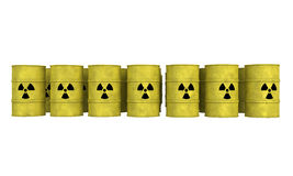 Rows of nuclear waste barrel. Rows of yellow barrel for nuclear waste Royalty Free Stock Image
