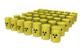 Rows of nuclear waste barrel from top. View of nuclear waste barrel from top Royalty Free Stock Photo