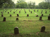 Rows of numbered graves Royalty Free Stock Photography